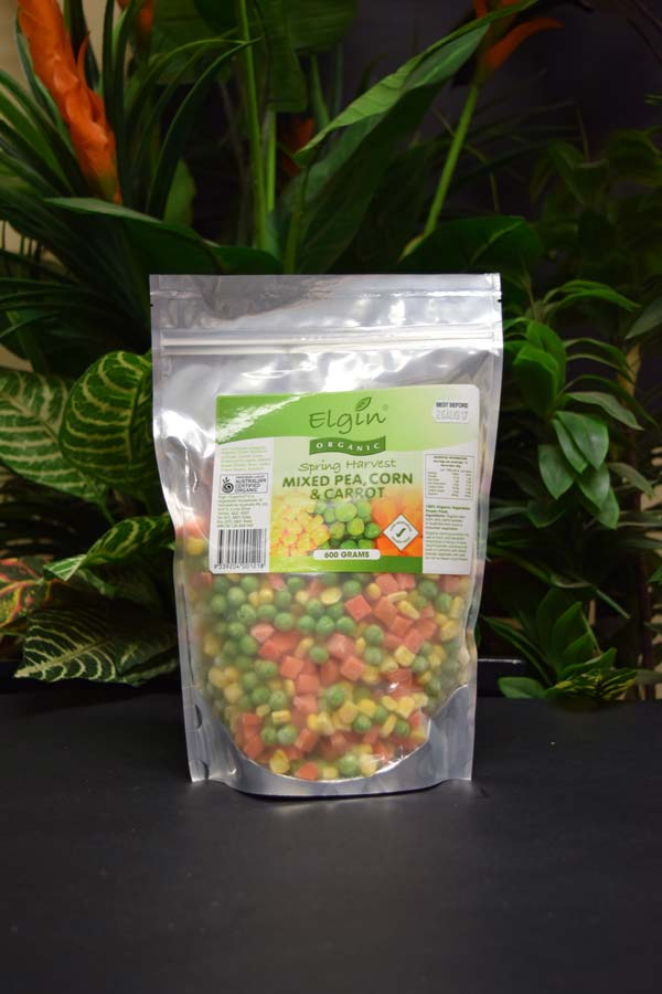 ORG Frozen Mixed Pea, Corn and Carrot 600g