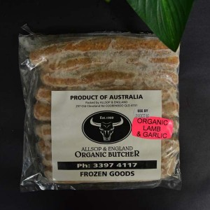 *ORG Lamb/Garlic Thin Sausages 500g